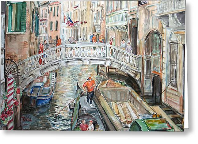 People In Venice Greeting Card by Becky Kim