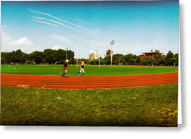 Jogging Photographs Greeting Cards - People Jogging In A Public Park Greeting Card by Panoramic Images