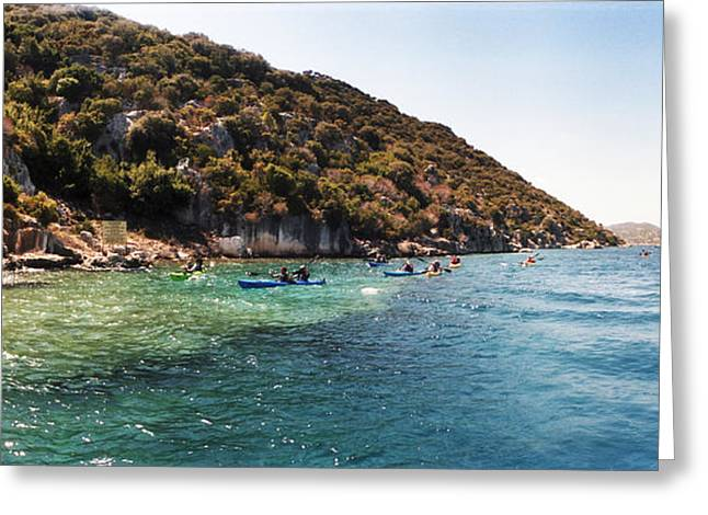 The Edge Greeting Cards - People Kayaking In The Mediterranean Greeting Card by Panoramic Images