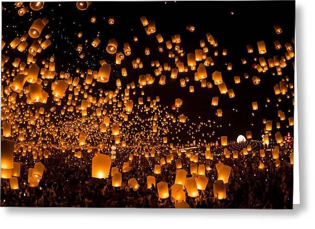 Candle Lit Greeting Cards - People launch sky lanterns Greeting Card by Tasaphon Vongkittipong
