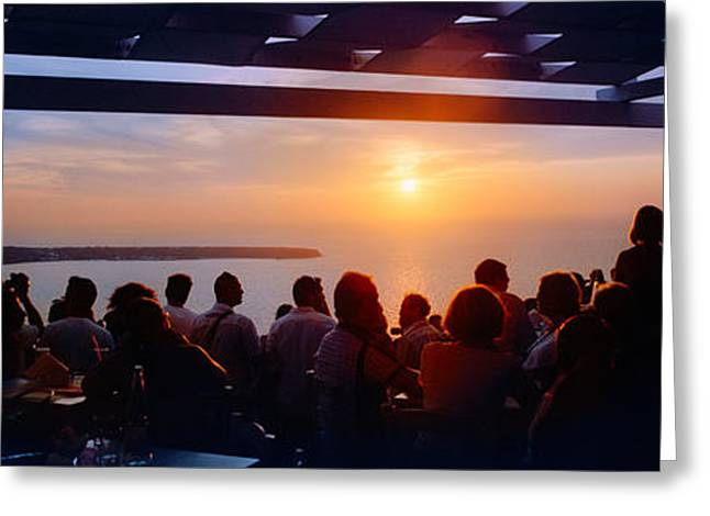 Looking At View Greeting Cards - People Looking At Sunset, Santorini Greeting Card by Panoramic Images