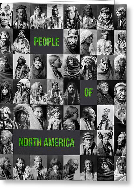 Photo Collage Greeting Cards - People Of North America Greeting Card by Aged Pixel