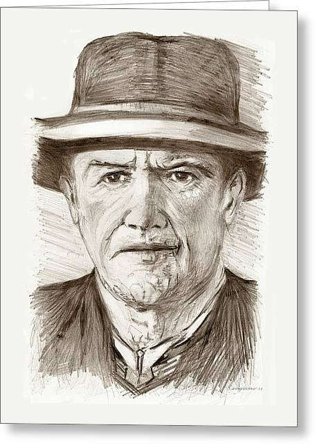 People Of Old West A Pencil Drawing In Black And White  Greeting Card by Mario Perez