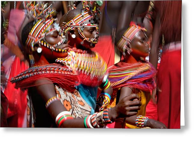 African Clothing Greeting Cards - People Of The Samburu Tribe Greeting Card by Panoramic Images