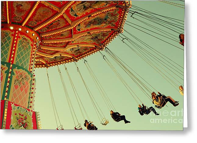 Muenchen Greeting Cards - People on a Vintage Carousel at the Octoberfest in Munich Greeting Card by Sabine Jacobs