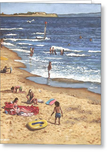 Sunbathing Greeting Cards - people on Bournemouth beach Blue Sea Greeting Card by Martin Davey