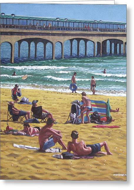 Sunbathing Greeting Cards - people on Bournemouth beach Boys looking Greeting Card by Martin Davey