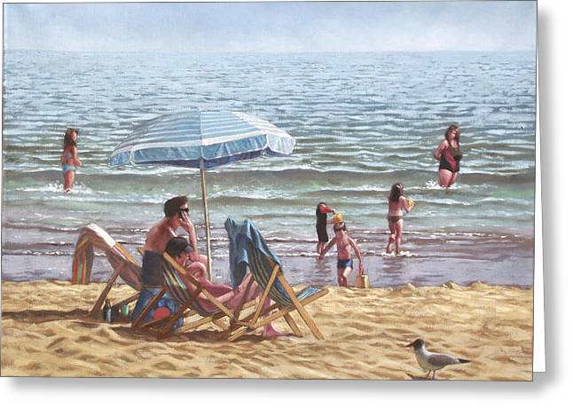 Sunbathing Greeting Cards - People On Bournemouth Beach Parasol Greeting Card by Martin Davey