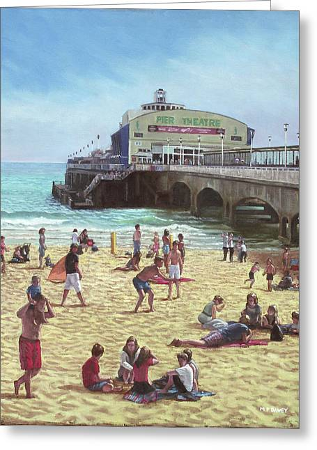 Sunbathing Paintings Greeting Cards - people on Bournemouth beach Pier theatre Greeting Card by Martin Davey