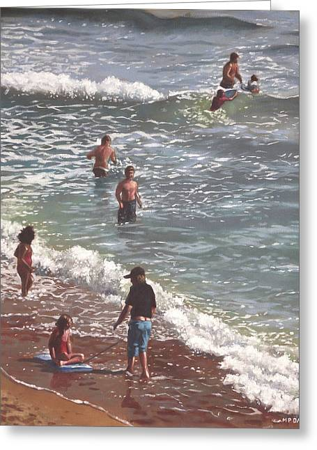 People On Bournemouth Beach Waves And People Greeting Card by Martin Davey