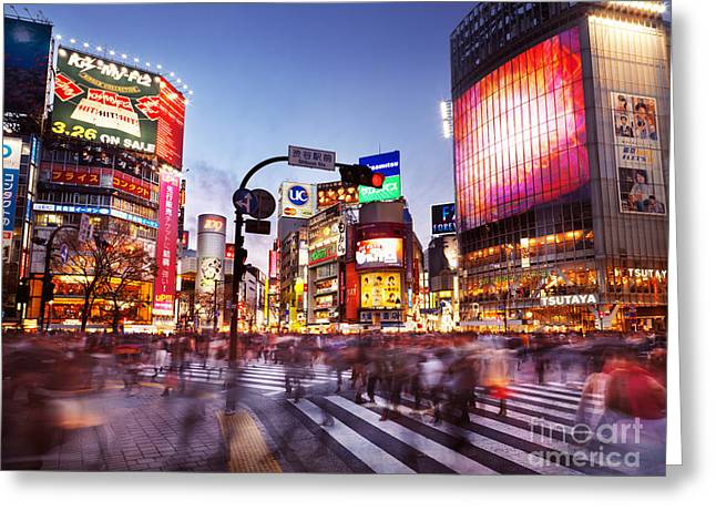 Moving Colors Greeting Cards - People on busy interesection Shibuya station Tokyo Japan Greeting Card by Oleksiy Maksymenko