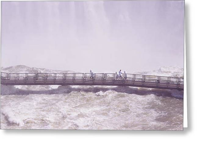 Rivers In The Fall Greeting Cards - People On Cat Walks At Floodwaters Greeting Card by Panoramic Images