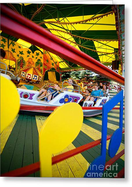 Kennywood Park Greeting Cards - People on Kennywood Amusement Park Ride Greeting Card by Amy Cicconi
