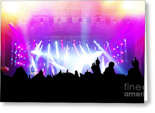 Applaud Photographs Greeting Cards - People on music concert disco party Greeting Card by Michal Bednarek