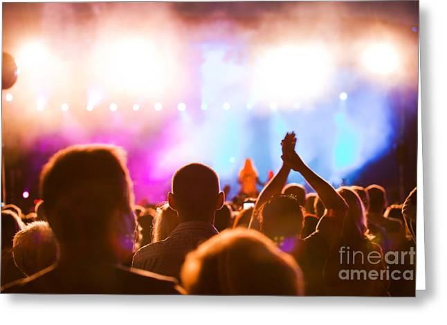 People On Music Concert Greeting Card by Michal Bednarek