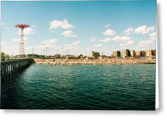 York Beach Greeting Cards - People On The Beach, Coney Island Greeting Card by Panoramic Images