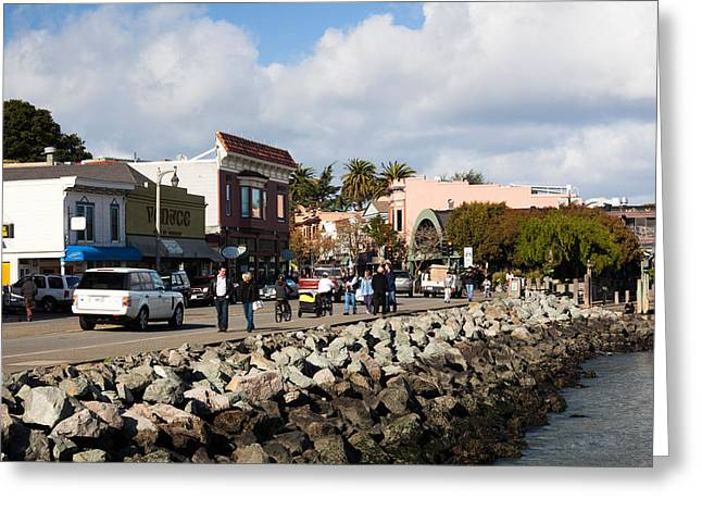 Sausalito Greeting Cards - People On The Bridgeway Street Greeting Card by Panoramic Images