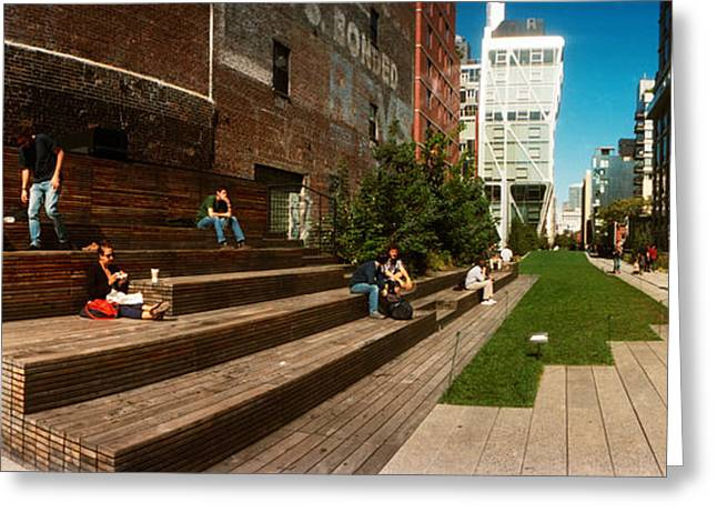 High Line Greeting Cards - People On The Street In A City, High Greeting Card by Panoramic Images