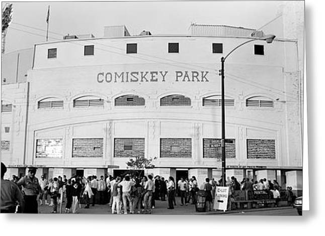 People Greeting Cards - People Outside A Baseball Park, Old Greeting Card by Panoramic Images