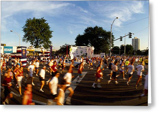 Midwest Scenes Greeting Cards - People Participating In A Marathon Greeting Card by Panoramic Images