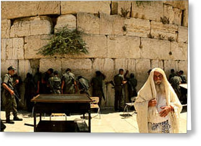 Jewish History Greeting Cards - People Praying In Front Of The Wailing Greeting Card by Panoramic Images