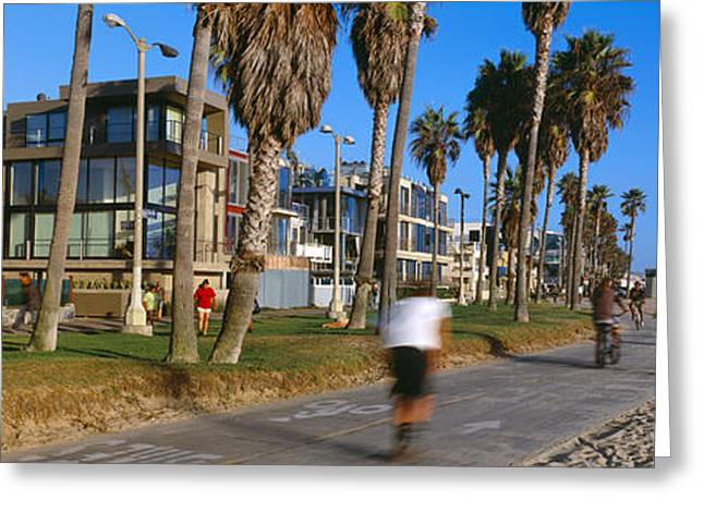 California Beach Image Greeting Cards - People Riding Bicycles Near A Beach Greeting Card by Panoramic Images