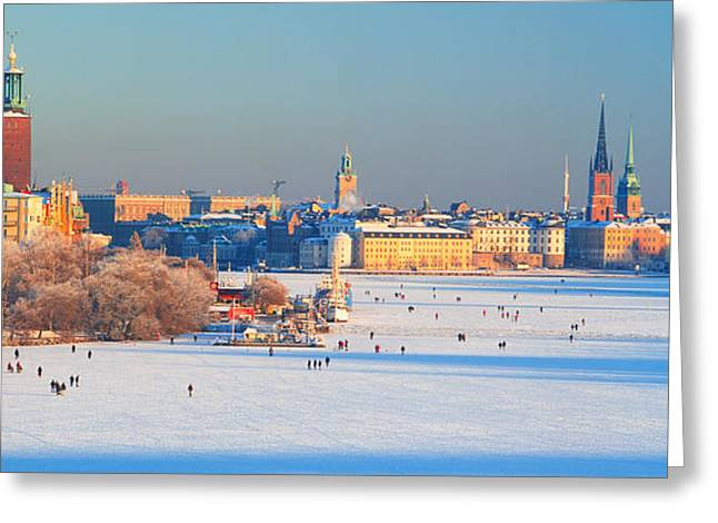 Incidental People Greeting Cards - People Strolling Across Frozen Greeting Card by Panoramic Images