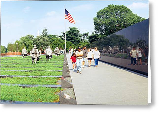 Flag Of Usa Greeting Cards - People Visiting The Korean War Greeting Card by Panoramic Images
