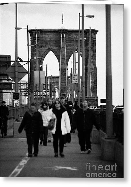 Manhaten Greeting Cards - People Walking Across The Brooklyn Bridge New York City Usa Greeting Card by Joe Fox