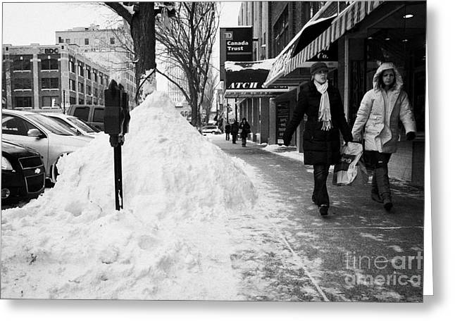 Kerb Greeting Cards - people walking along clear sidewalks in downtown city street Saskatoon Saskatchewan Canada Greeting Card by Joe Fox