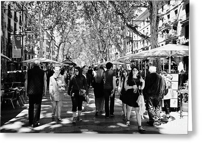 Catalunya Greeting Cards - People Walking Down Through Street Cafes On La Rambla Barcelona Catalonia Spain Greeting Card by Joe Fox