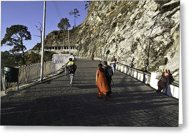 Indian Greeting Cards - People walking on the path leading to shrine of Vaishno Devi Greeting Card by Ashish Agarwal