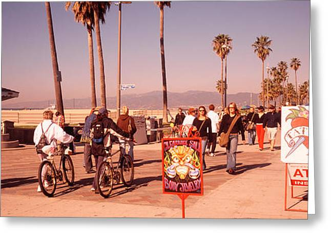 California Beach Image Greeting Cards - People Walking On The Sidewalk, Venice Greeting Card by Panoramic Images
