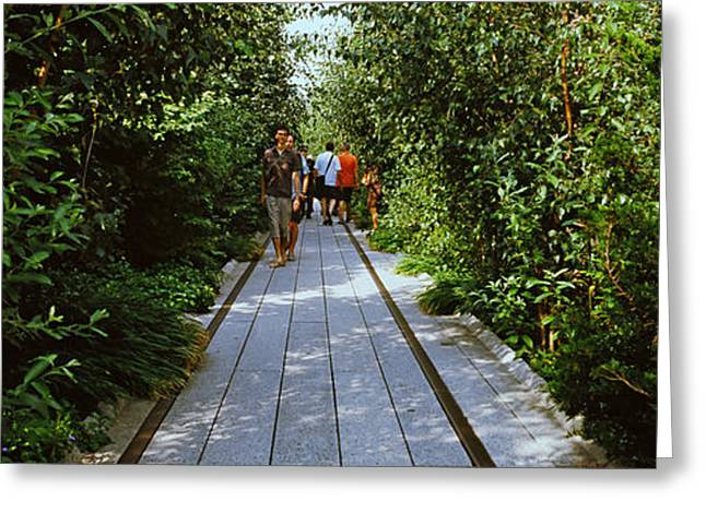 High Line Greeting Cards - People Walking On Walkway In An Greeting Card by Panoramic Images