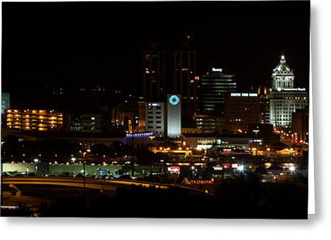 Famous Photographer Greeting Cards - Peoria at Night Greeting Card by Jim Finch
