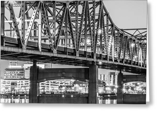 Riverboats Greeting Cards - Peoria IL Panorama Black and White Picture Greeting Card by Paul Velgos