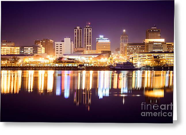 Riverboats Greeting Cards - Peoria Illinois at Night Downtown Skyline Greeting Card by Paul Velgos