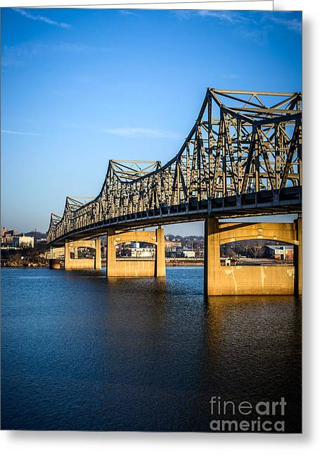 Peoria Greeting Cards - Peoria Illinois Bridge - Murray Baker Bridge Greeting Card by Paul Velgos