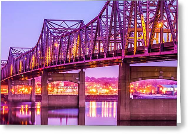 Peoria Greeting Cards - Peoria Illinois Bridge Panorama Photo Greeting Card by Paul Velgos