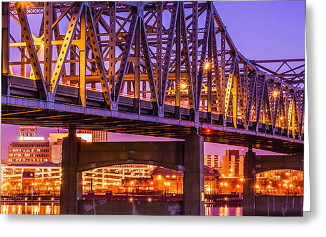 Reflecting Water Greeting Cards - Peoria Illinois Bridge Panoramic Picture Greeting Card by Paul Velgos