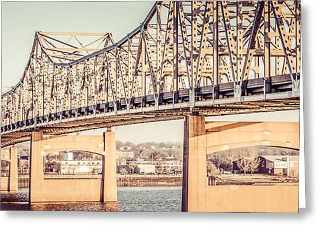 Peoria Greeting Cards - Peoria Illinois Bridge Retro Panorama Photo Greeting Card by Paul Velgos