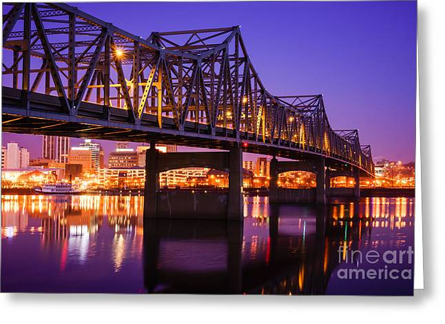 Riverboats Greeting Cards - Peoria Illinois Murray Baker Bridge at Night Greeting Card by Paul Velgos