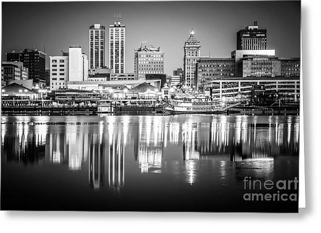 Riverfront Greeting Cards - Peoria Illinois Skyline at Night in Black and White Greeting Card by Paul Velgos