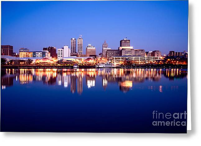 Riverboats Greeting Cards - Peoria Illinois Skyline at Night Greeting Card by Paul Velgos