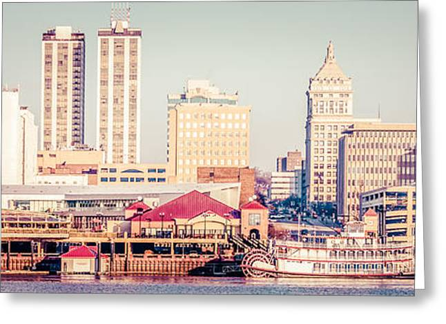 Riverboats Greeting Cards - Peoria Illinois Skyline Retro Panorama Picture Greeting Card by Paul Velgos