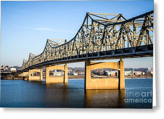 Peoria Greeting Cards - Peoria Murray Baker Bridge in Illinois Greeting Card by Paul Velgos