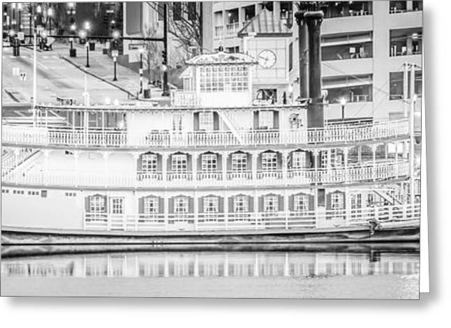 Riverboats Greeting Cards - Peoria Riverboat Panoramic Black and White Photo Greeting Card by Paul Velgos