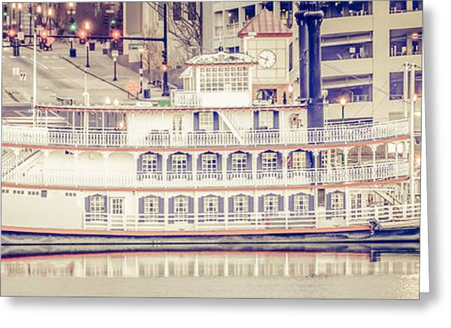 Riverboats Greeting Cards - Peoria Riverboat Vintage Panorama Photo Greeting Card by Paul Velgos