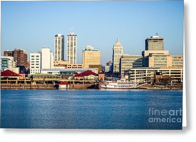 Riverboats Greeting Cards - Peoria Skyline and Downtown City Buildings Greeting Card by Paul Velgos