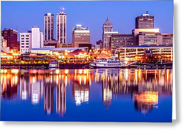 Riverboats Greeting Cards - Peoria Skyline at Night Panorama Photo Greeting Card by Paul Velgos